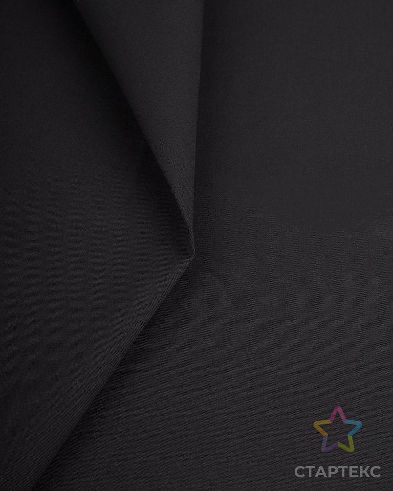 Поплин-стрейч однотонный черного цвета - Артикул - 20219.014 - оптом купить в Москве по недорогой цене в интернет-магазине Стартекс